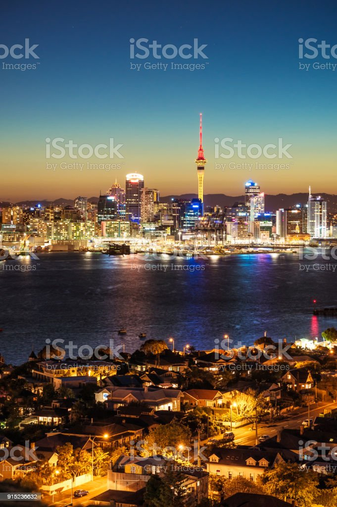Auckland's skyline at dusk stock photo