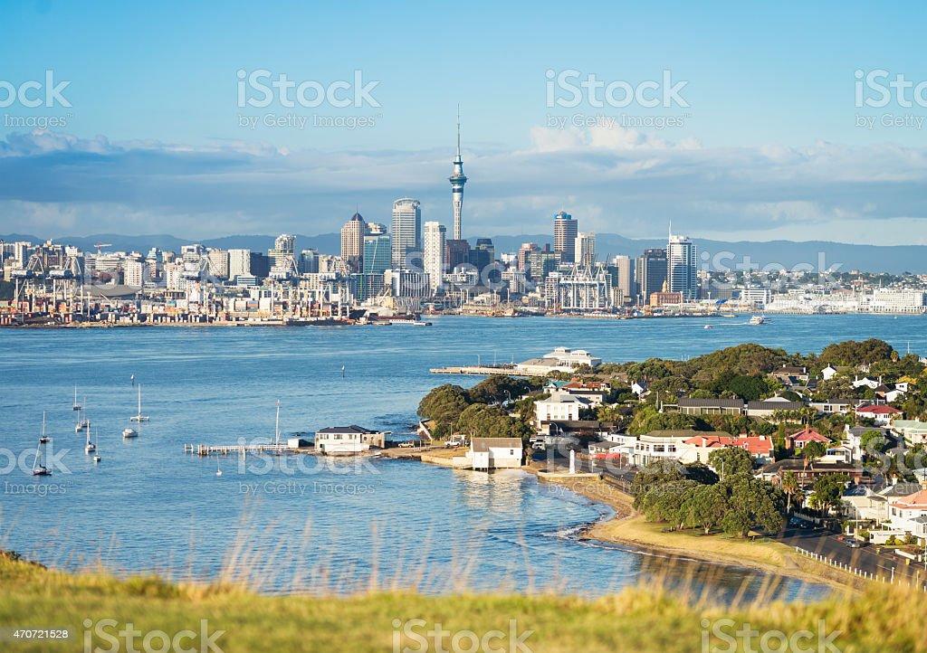 Auckland's skyline seen from Devonport stock photo