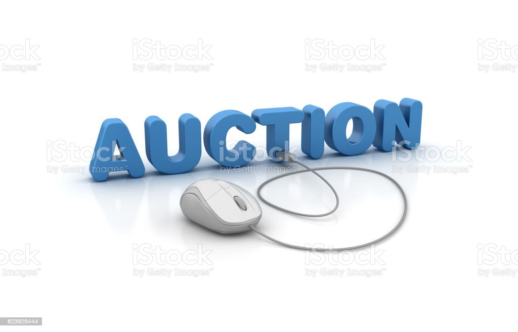 Auction 3D Word and Computer Mouse - 3D Rendering stock photo