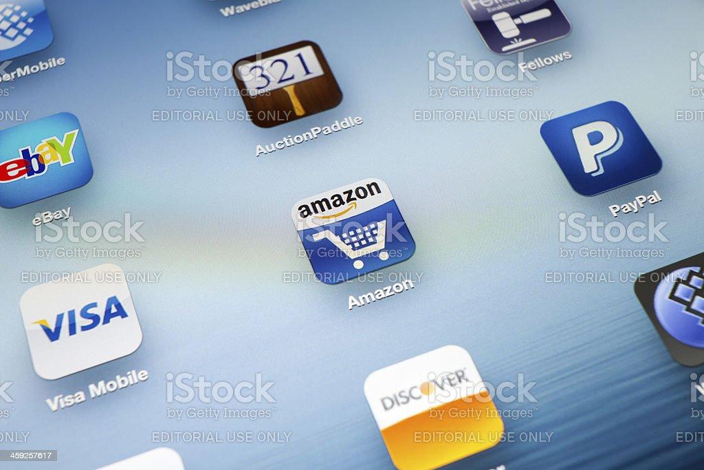 Auction App icon on New iPad stock photo