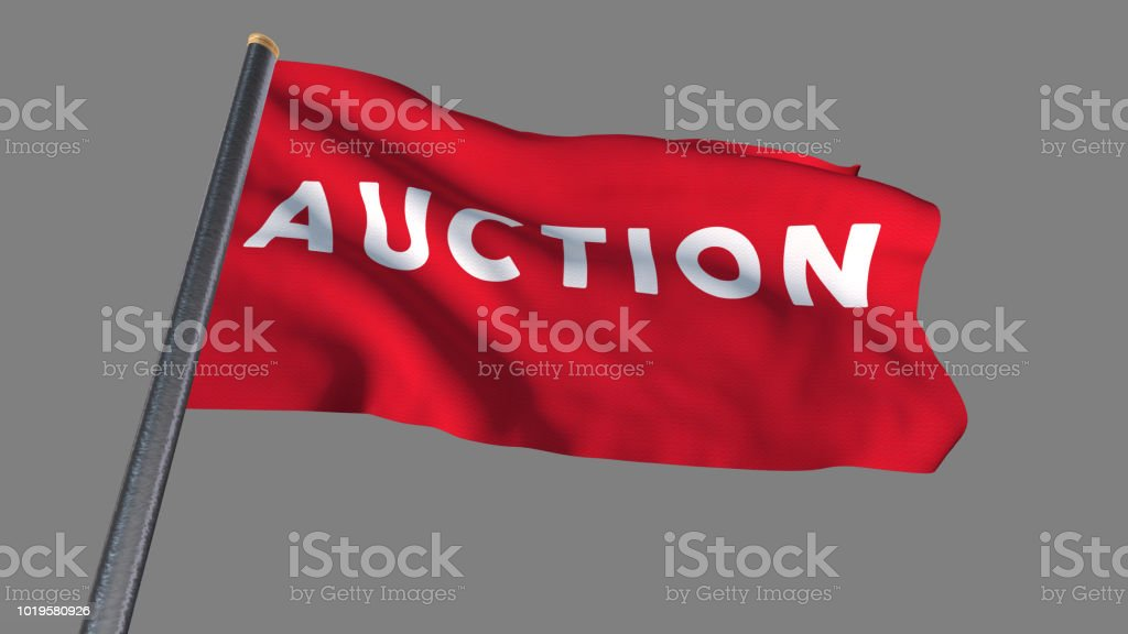 Auction flag waving (Clipping path included so you can put your own background) stock photo