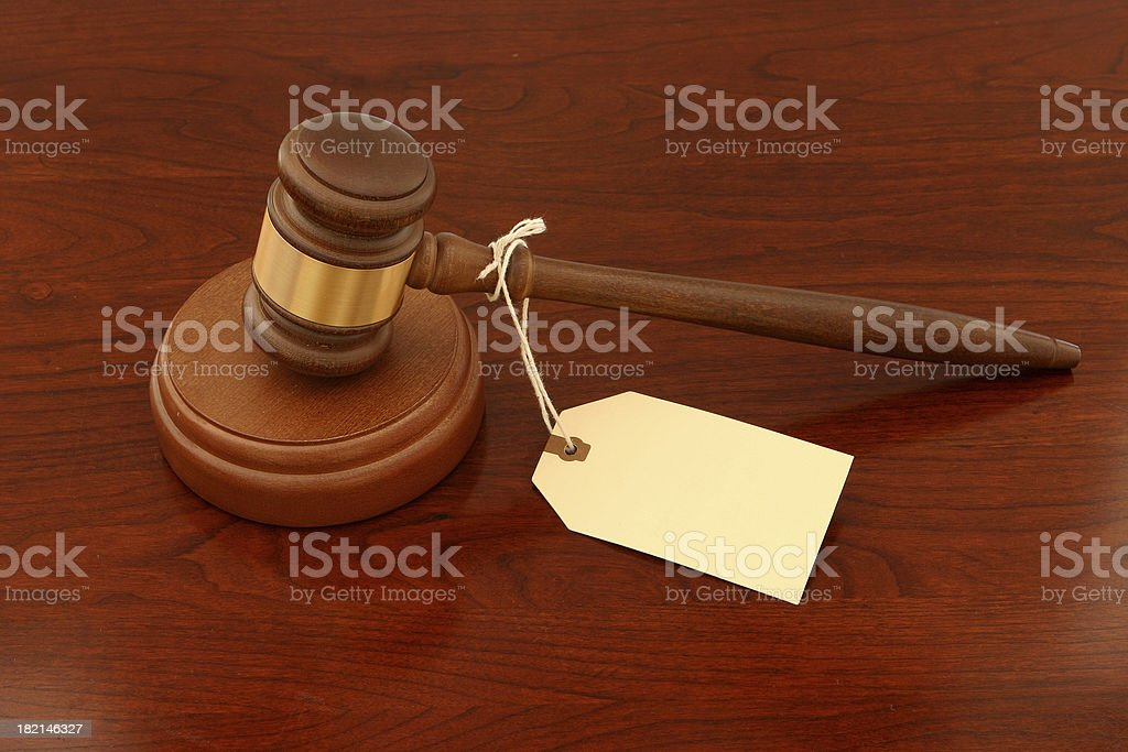 Auction Gavel with Blank Tag royalty-free stock photo