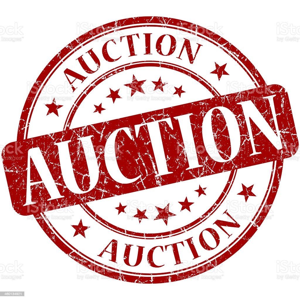 Auction grunge red round stamp stock photo