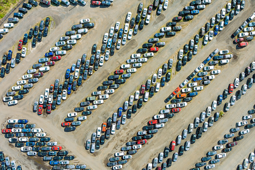 Auction yard terminal lot on car distributed in rows a used cars parked