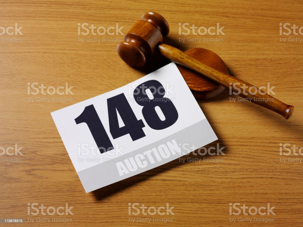 Auction Paddle and Gavel stock photo