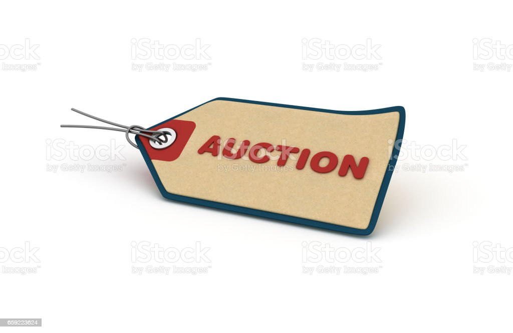 Auction Shopping Tag - 3D Rendering stock photo