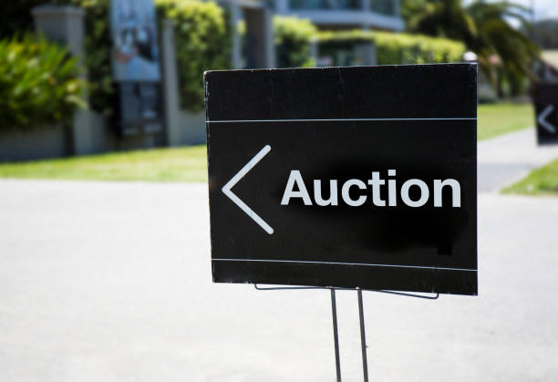 Auction sign stock photo