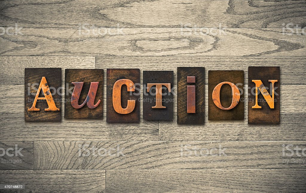 Auction Wooden Letterpress Theme stock photo