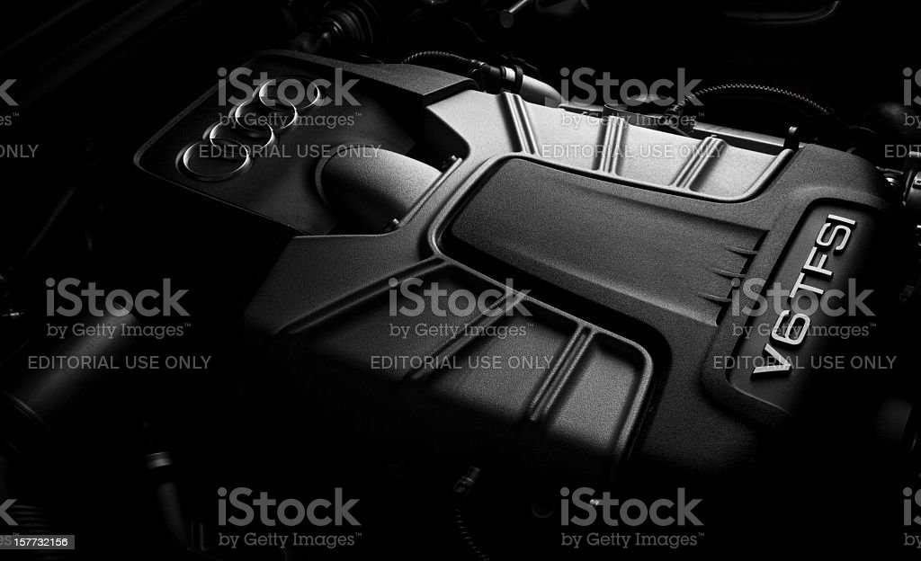 Audi 3.0 liters supercharged V6 TFSI engine stock photo