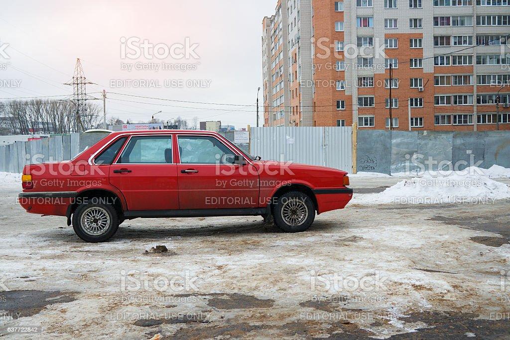 Audi 80 in winter. stock photo