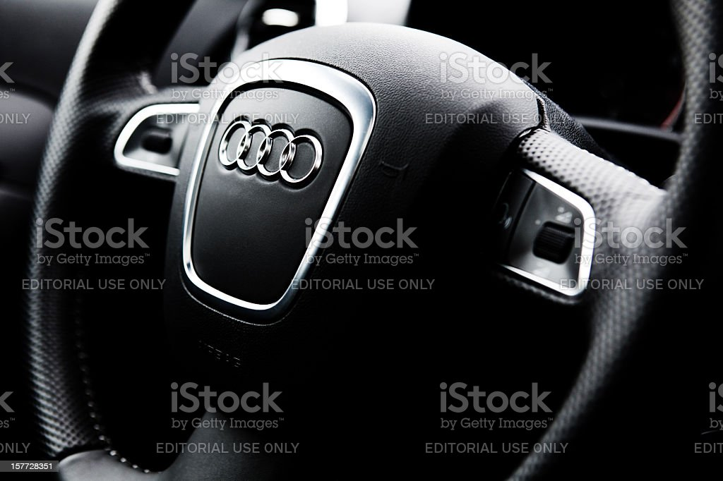 Audi A3 Quattro steering wheel stock photo