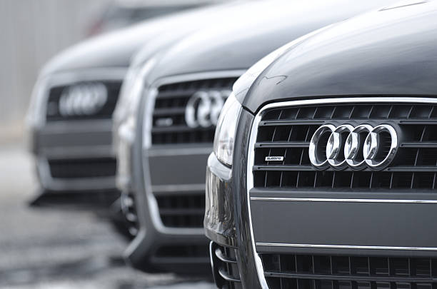 Audi A4 Quattro Sedans Halifax, Canada - March 8, 2012: A row of 2012 Audi A4 Quattro sedans on display at an Audi dealership. The A4 has been built in four generations and is based on Volkswagen's B platform. 2012 stock pictures, royalty-free photos & images