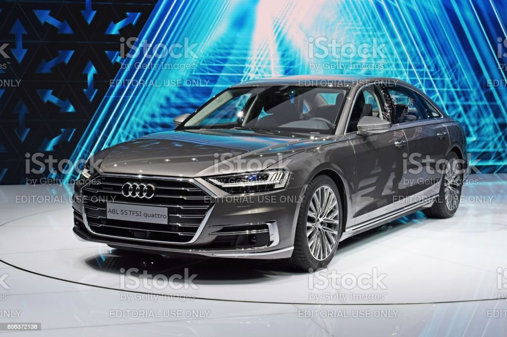 Audi A8 on the motor show stock photo