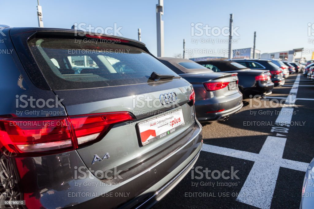 Audi Cars Stands On Parking Lot Near Audi Car Dealer Stock Photo