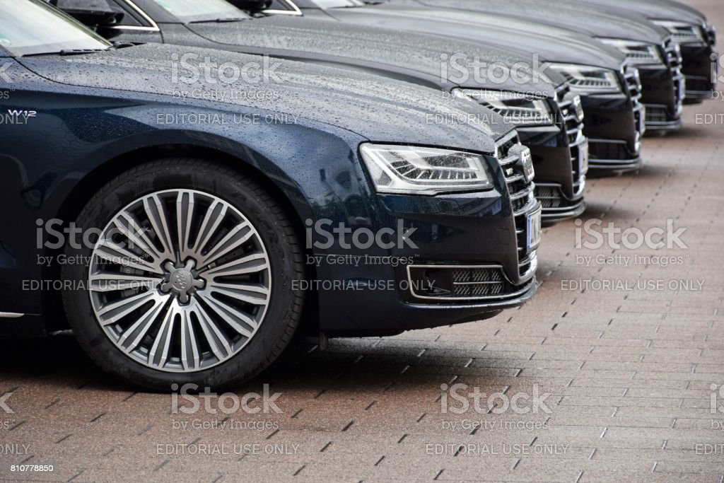 Audi limousines on the parking stock photo