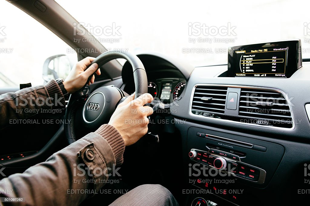 Audi Q3 interior - modern and luxury vehicle stock photo