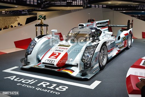 Frankfurt, Germany - September 10th, 2013: Hybrid vehicle R18 e-tron quattro is a Le Mans racing car constructed by the Audi. This model is one of the fastest vehicles from Audi.