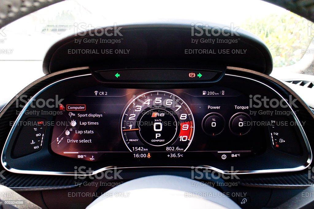 Audi R8 2016 Dashboard stock photo