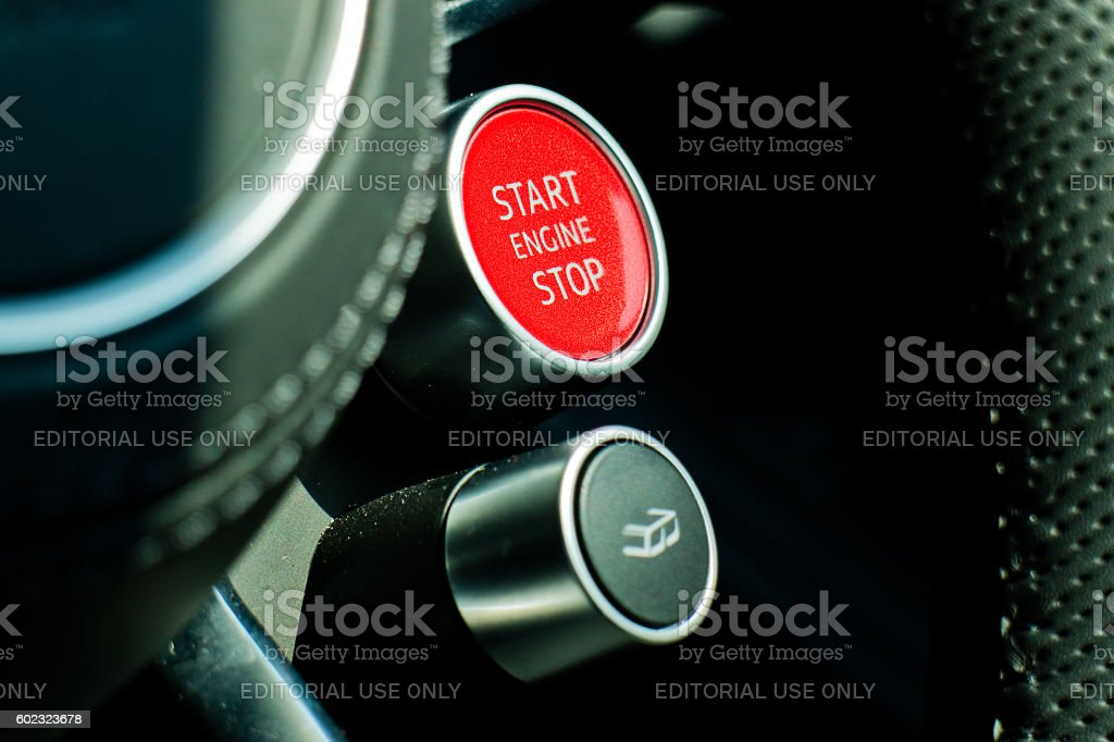 Audi R8 2016 Start Stop Engine stock photo