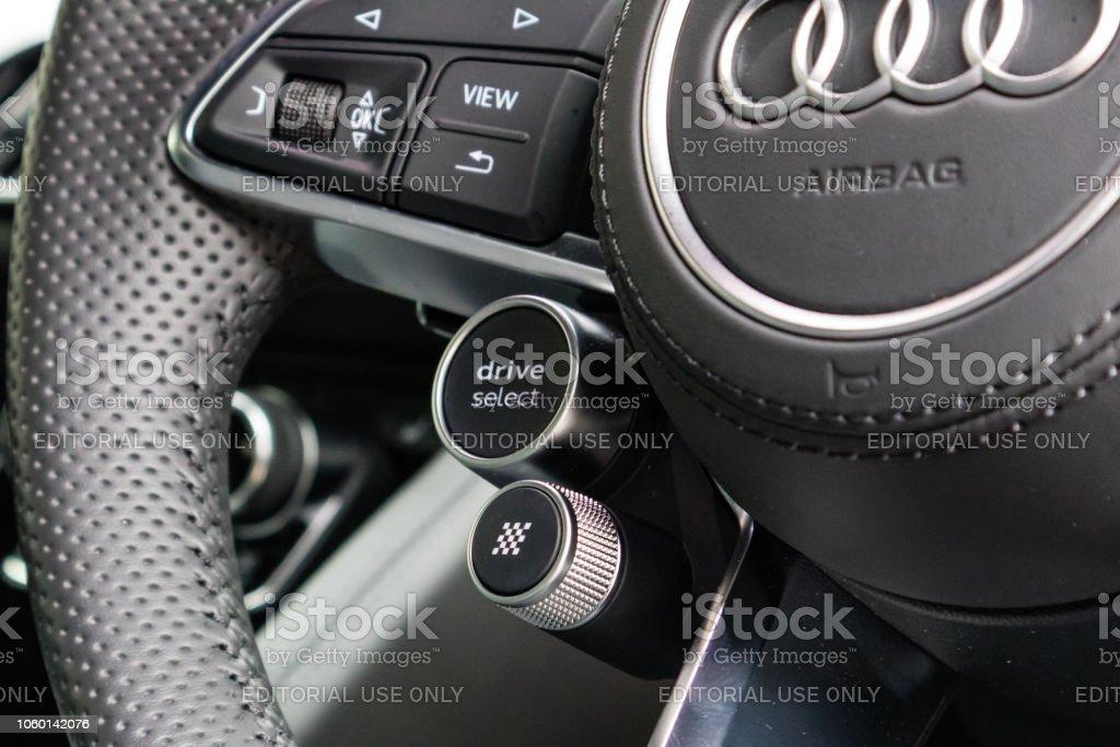Audi R8 2018 Drive Mode Button stock photo
