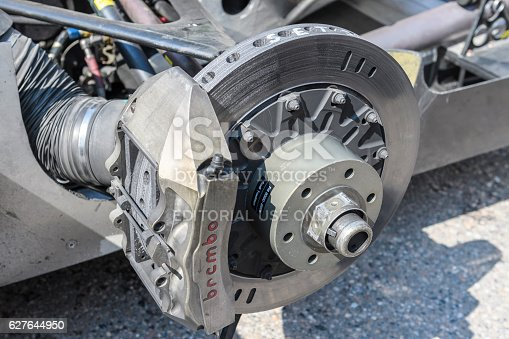 Jüchen, Germany - August 5, 2016: Audi R8 Le Mans Prototype sports-prototype race car Brembo brake. The Audi R8 is fitted with a Audi 3.6 liter 90-degree V8 twin-turbo, mid-engine, longitudinally mounted petrol engine. The R8 won Le Mans five times from 2000 onwards and the overall season championship in the American Le Mans Series six times in a row. The car is on display during the 2016 Classic Days at castle Dyck.