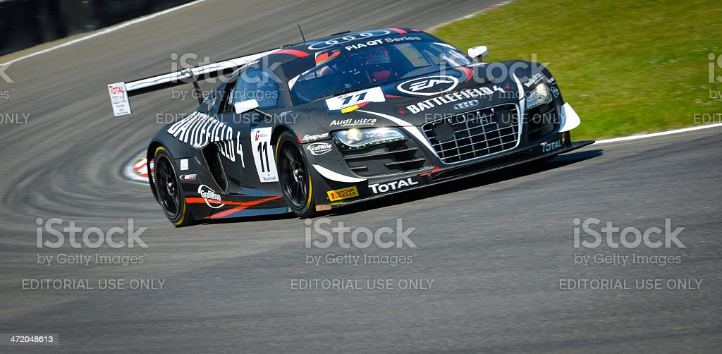 Audi R8 LMS race car at the racing track stock photo