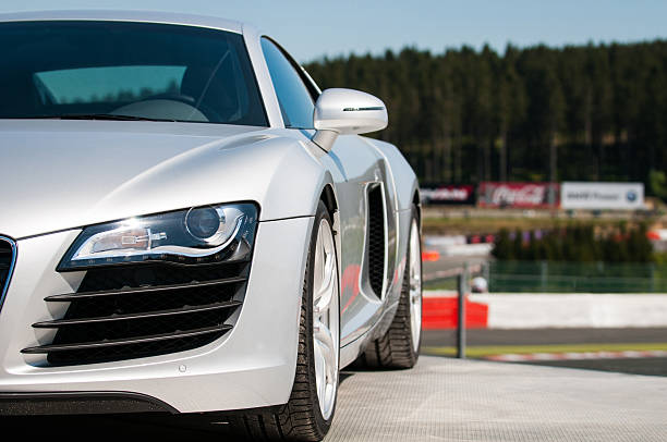 Audi R8 Spa, Belgium - May 9, 2008: Silver Audi R8 sports car is standing on display at the circuit of Spa Francorchamps in Belgium during the 2008 1000km of Spa races. spa belgium stock pictures, royalty-free photos & images