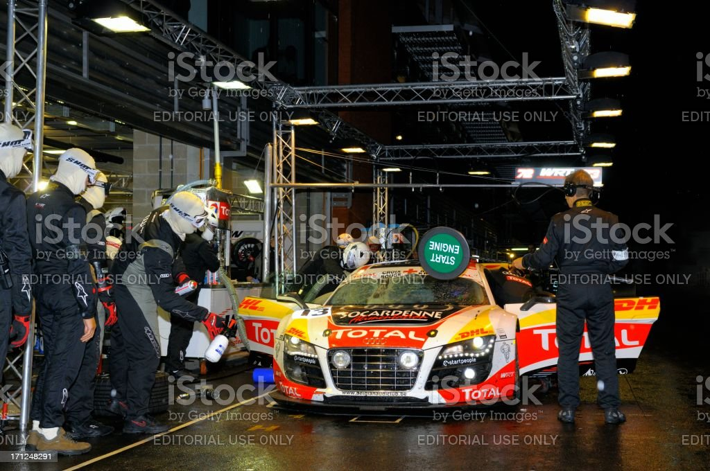Audi R8 pit stop at the Spa racing track stock photo