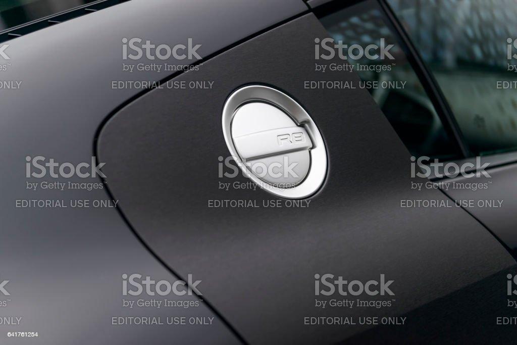 Audi R8 sports car fuel cap with matte black paint stock photo