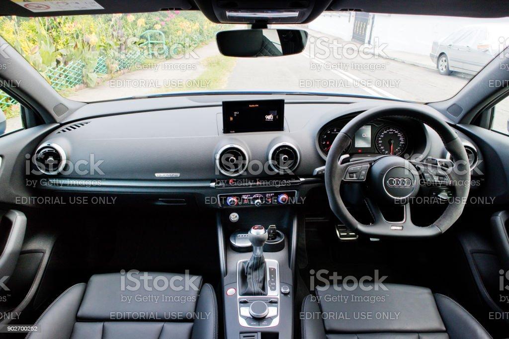 Audi RS 3 Sedan 2017 Interior stock photo