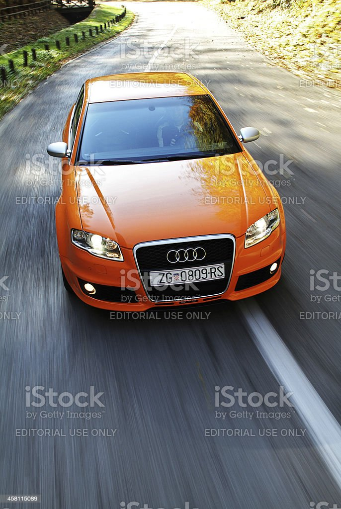Audi RS4 driving stock photo