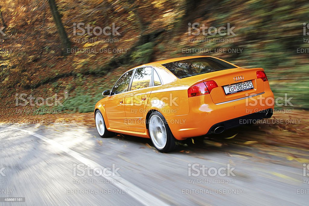 Audi RS4 picking up some leaves stock photo