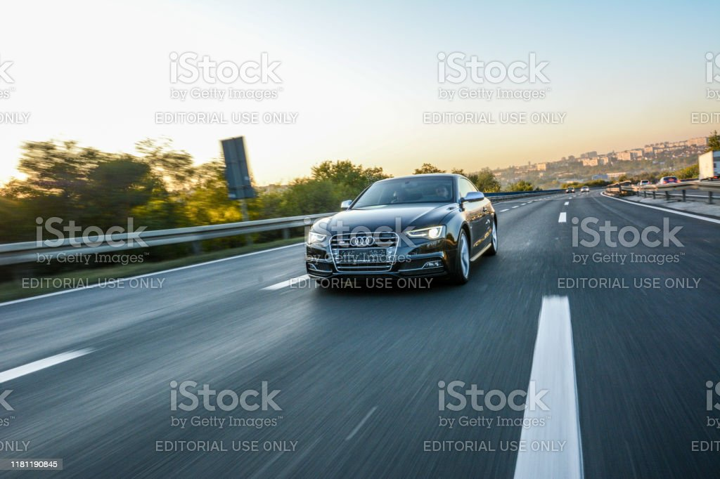 Audi S5 in motion Audi S5  Shoot on highway in Belgrade, Serbia.  October 12, 2019 2019 Stock Photo