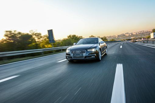 Audi S5 In Motion Stock Photo - Download Image Now