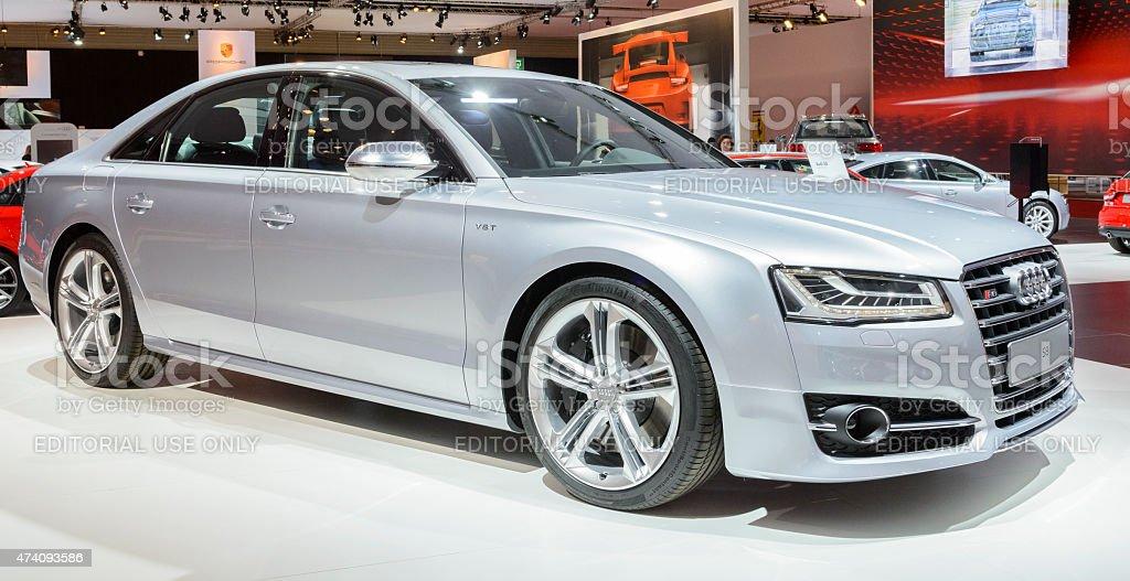 Audi S8 luxury performance sedan stock photo