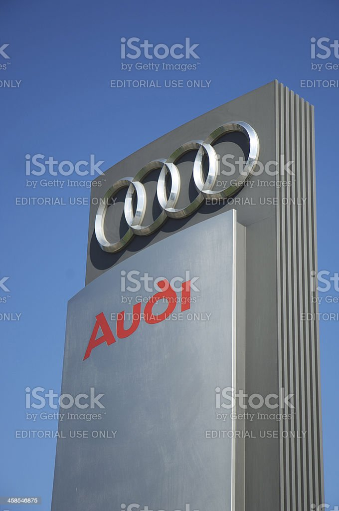 Audi sign against Blue sky stock photo
