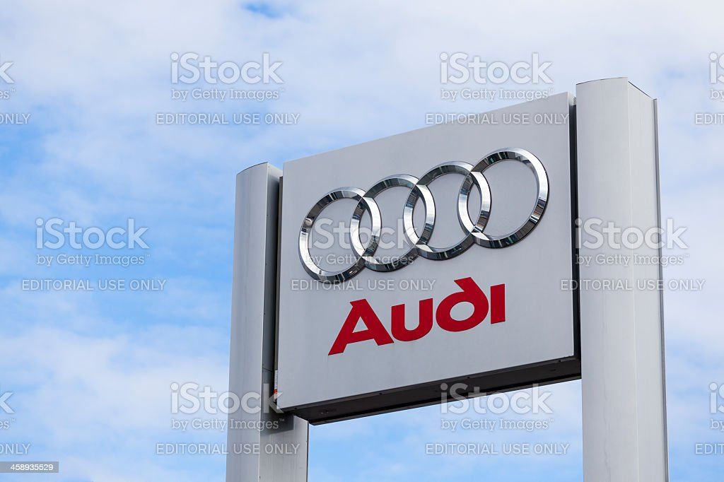 Audi Sign at Car Dealership stock photo
