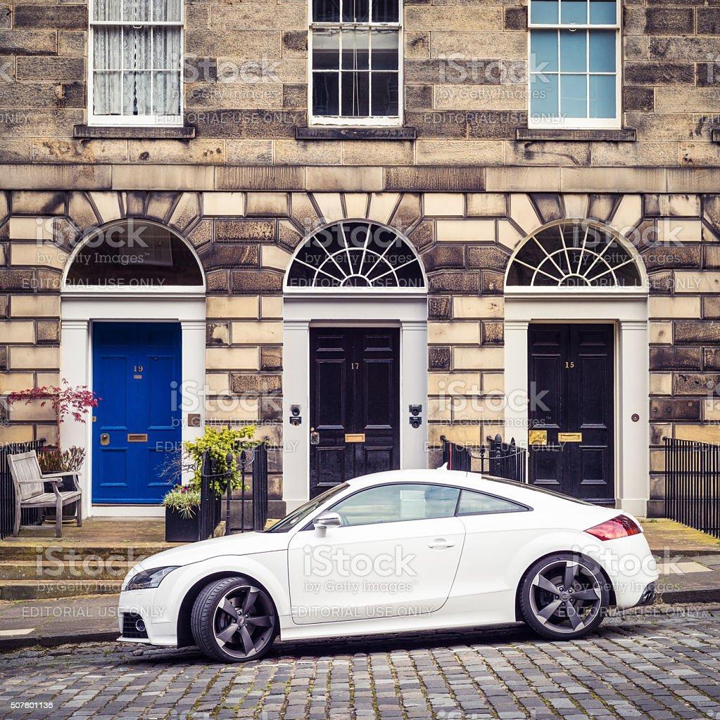 Audi TT parked in Edinburgh's New Town stock photo