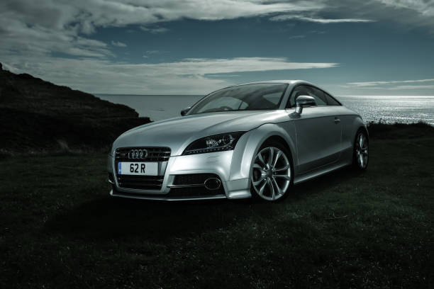 Audi TTS Mark II Coupe sitting on cliff top stock photo