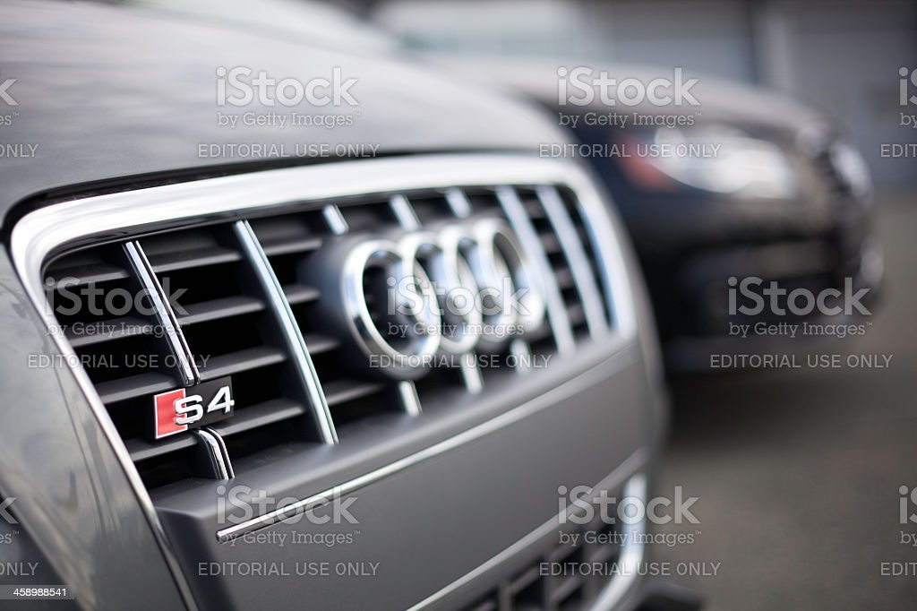 Audi Vehicles at a Car Dealership stock photo