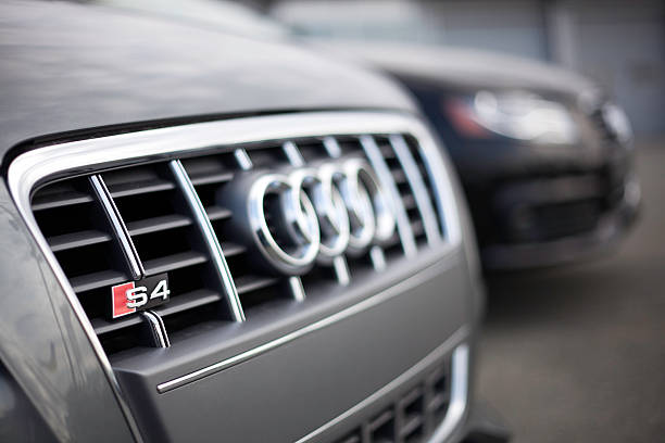 Audi Vehicles at a Car Dealership stock photo