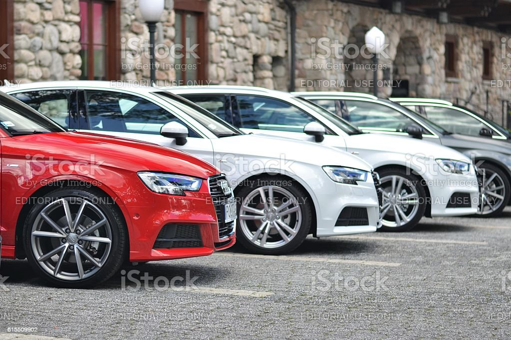 Audi vehicles on the parking stock photo