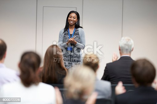 600073884 istock photo Audience Applauding Speaker After Conference Presentation 600072226