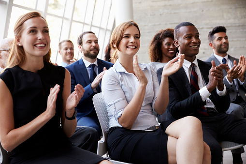 Audience Applauding Speaker At Business Conference Stock Photo - Download Image Now