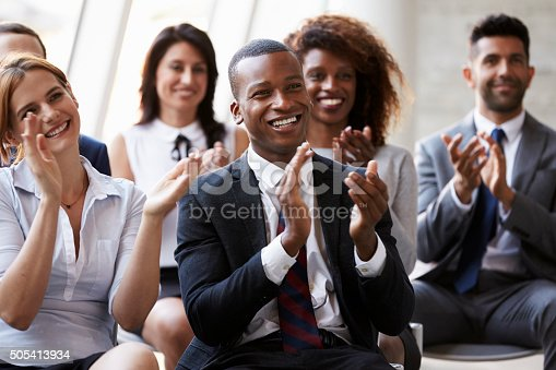 istock Audience Applauding Speaker At Business Conference 505413934