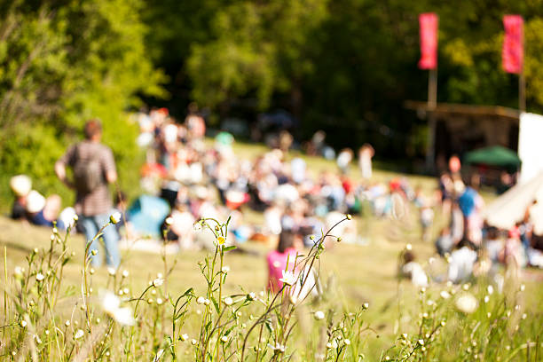 Audience at a live music event The audience sitting on a grassy hillside at a live folk festival, Castlewood Wine festival, Devon. Focus on the daisies in the foreground folk music stock pictures, royalty-free photos & images