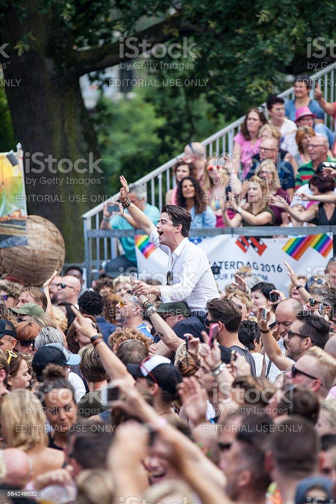Audience at concert of Anita Meyer singing, at Gay EuroPride stock photo