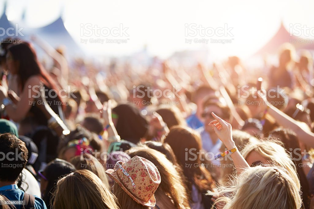 Audience At Outdoor Music Festival stock photo
