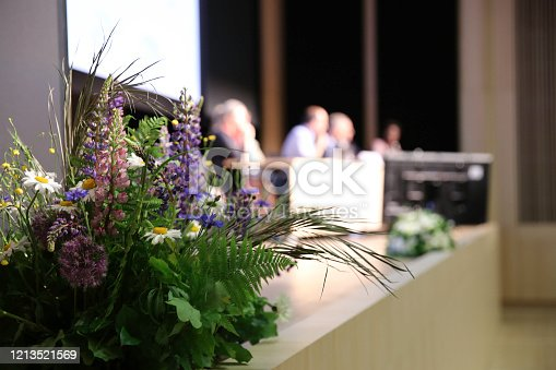 1180973515 istock photo Audience at the conference hall. Business Conference and Presentation 1213521569