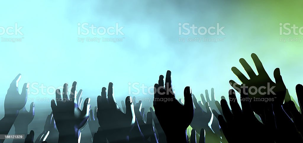 Audience Hands And Lights At Concert stock photo
